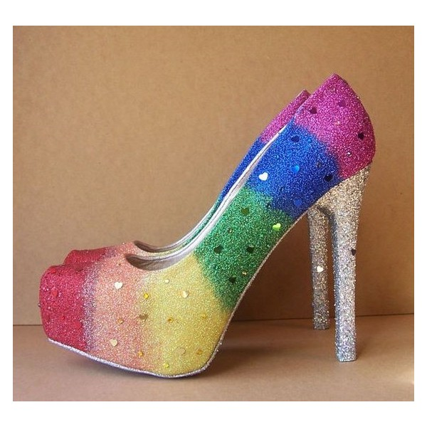 Women's Colorful Sparkly Stiletto Heels Pumps Platform Shoes image 1