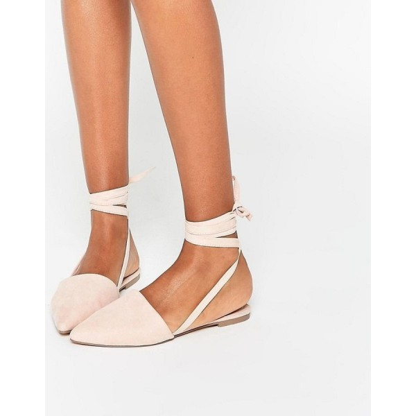 Beige Strappy Pointed Toe Comfortable Flats  image 2