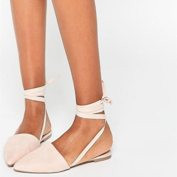 Beige Strappy Pointed Toe Comfortable Flats  image 1