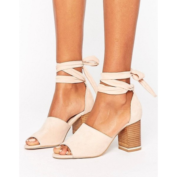 Beige Strappy Sandals Suede Peep Toe Chunky Heels for Women image 1