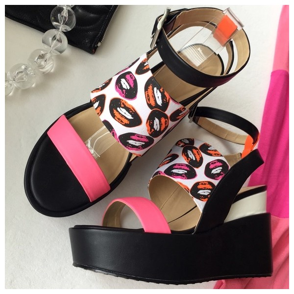 womens black and pink ankle strap open toe wedge heels