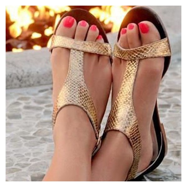 Golden Python T-strap Sandals Open Toe Comfortable Flats image 1