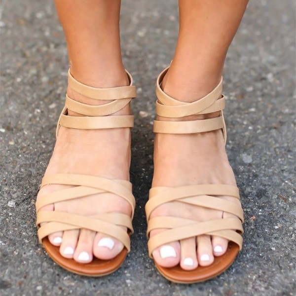 Khaki Open Toe Flats Gladiator Sandals Strappy Beach Sandals for Women image 1