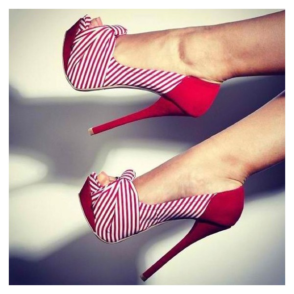 Red Stripes Platform Heels Peep Toe Stiletto Heel Bow Pumps image 1