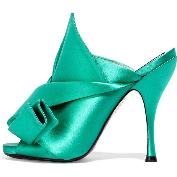 Turquoise Heels Knot Satin Open Toe Mule Sandals for Prom image 1