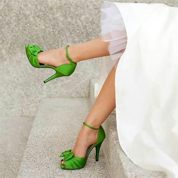 Green Wedding Sandals Peep Toe Ankle Strap Satin Bow Heels  image 1