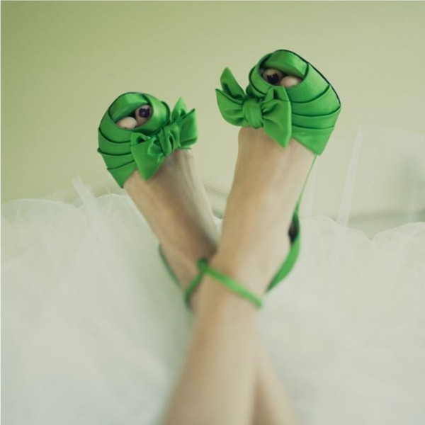 Green Wedding Sandals Peep Toe Ankle Strap Satin Bow Heels  image 2