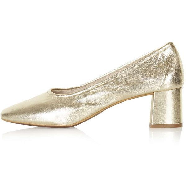 Women's Golden Pointed Toe Chunky Heels Pumps Shoes image 1