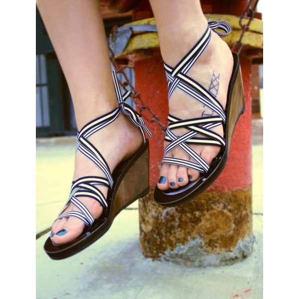 Women's White Open Toe Lace Up Strappy Wedge Heels Sandals image 1