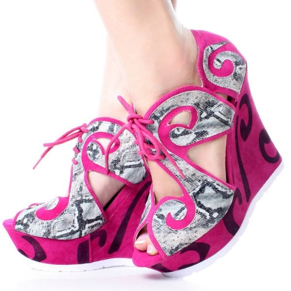 Fuchsia Wedge Sandals Lace up Peep Toe Heels with Platform image 1