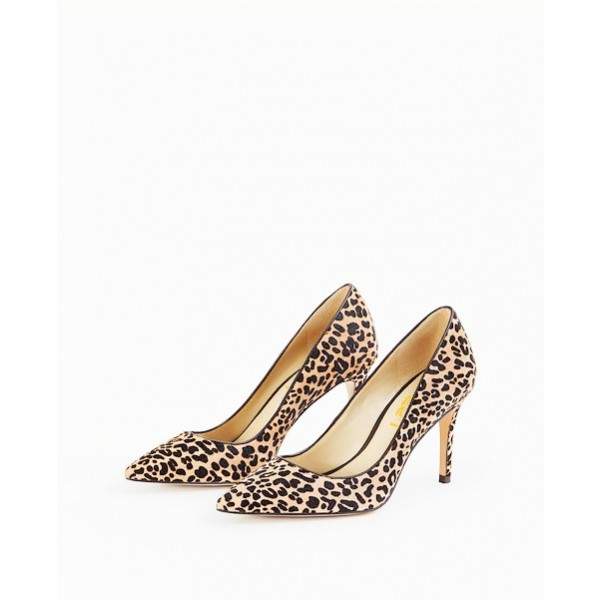 Leopard Print Heels Suede Pointy Toe Stiletto Heels Pumps for Women image 1