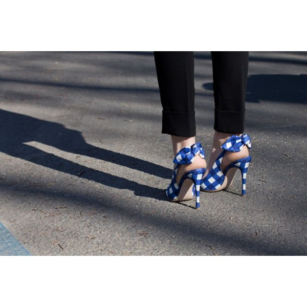 Blue And White Slingback Pumps Pointed Toe Stiletto Heels With Bows image 3