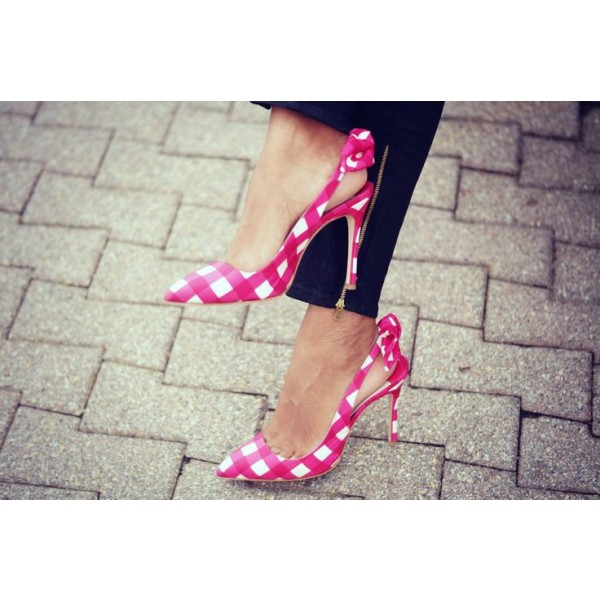 Magenta and White Plaid Bow Heels Stiletto Heel Slingback Pumps image 2