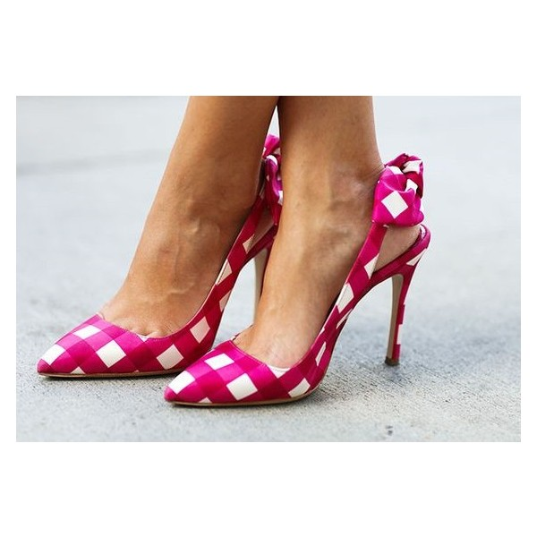 Magenta and White Plaid Bow Heels Stiletto Heel Slingback Pumps image 3
