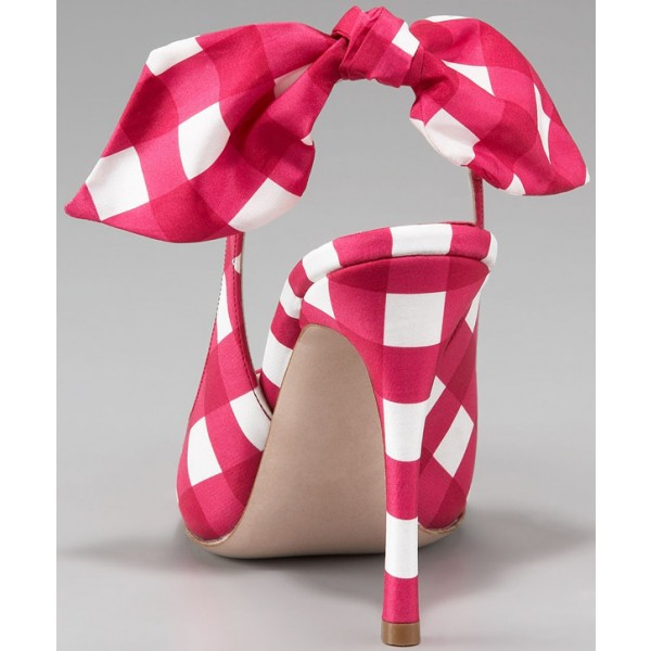 Magenta and White Plaid Bow Heels Stiletto Heel Slingback Pumps image 4