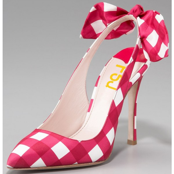 Magenta and White Plaid Bow Heels Stiletto Heel Slingback Pumps image 1