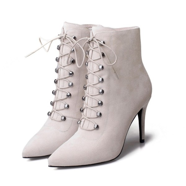 Women's Beige Heels Lace Up Boots Elegant Pointed Toe Ankle Boots image 1