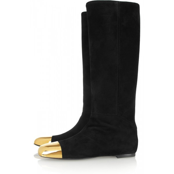 Black Fashion Boots Metal Toe Suede Flat Knee-high Boots image 1