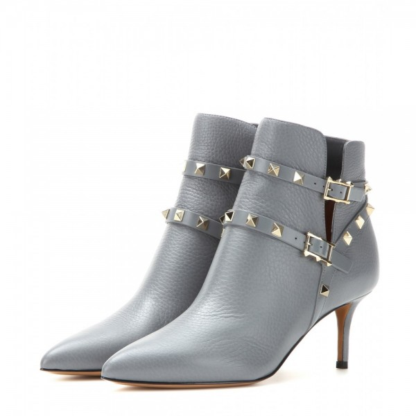 Women's Grey Fashion Boots Kitten Heels Rivet Buckle Ankle Boots image 1