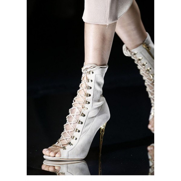 Ivory Lace up Boots Suede Mid Calf Boots for Women image 1