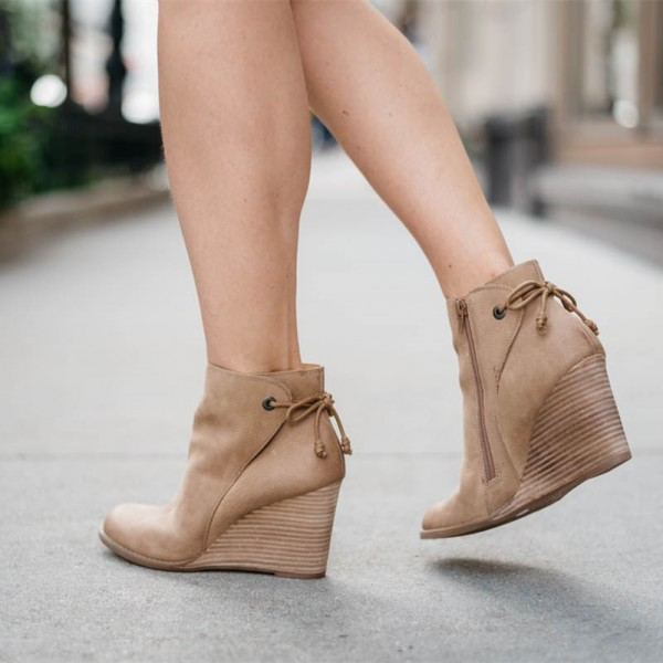 Retro Khaki Wedge Booties Round Toe Lace Up Leather Ankle Boots image 1