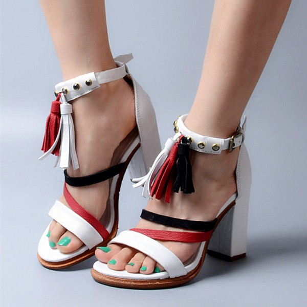 White Tassel Sandals Open Toe Block Heel Shoes image 1