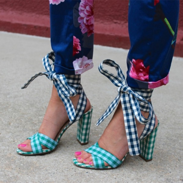 Green and Navy Plaid Strappy Sandals Open Toe Chunky Heels image 1