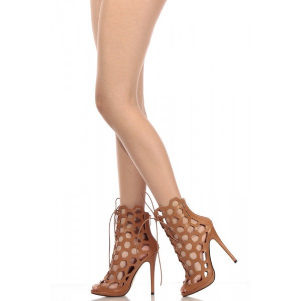 Tan Heels Lace up Hollow out Stiletto Heel Cage Sandals  image 1