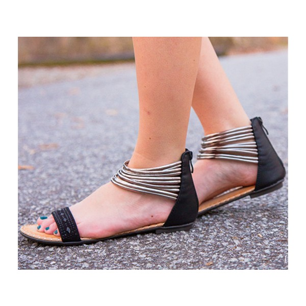 Women's Sliver Ankle Strap Sandals Comfortable Rhinestone Flats  image 1