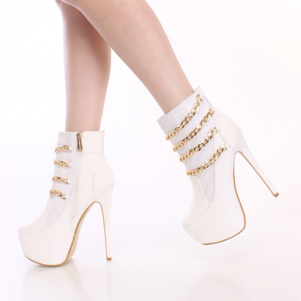 White Platform Boots Stiletto Heel Fashion Ankle Boots with Gold Chain image 1