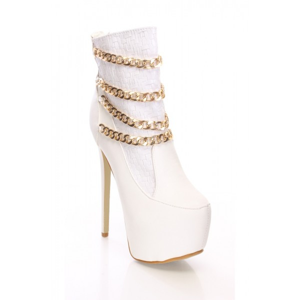 White Platform Boots Stiletto Heel Fashion Ankle Boots with Gold Chain image 2
