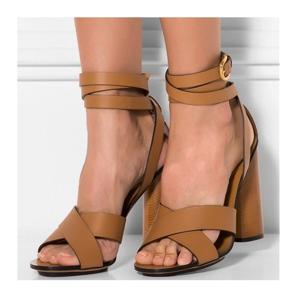 Women's Khaki Ankle Strap Sandals Chunky Open Toe Heels image 1
