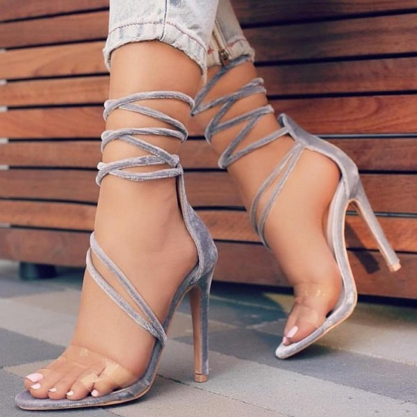 Grey Strappy Sandals Open Toe Stilettos Velvet Heels for Women image 1