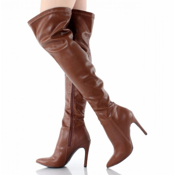 Heel Thigh Stiletto High Pointy Toe Long Brown Boots N8wnvm0