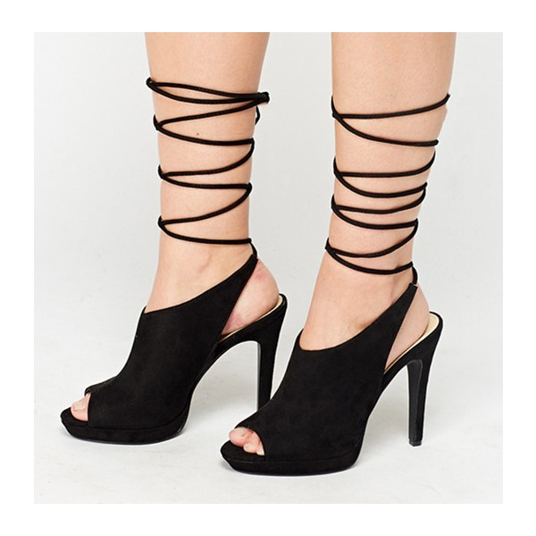 Black Strappy Heels Peep Toe Slingback Suede Shoes image 1