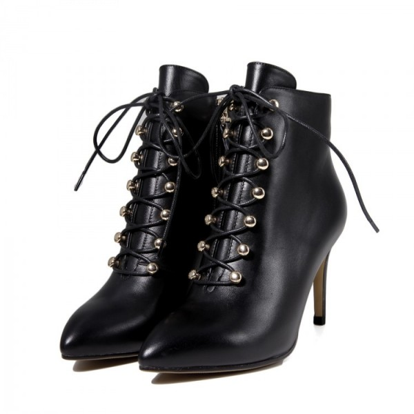 Black Lace up Boots Stiletto Heel Work Booties for Women image 1
