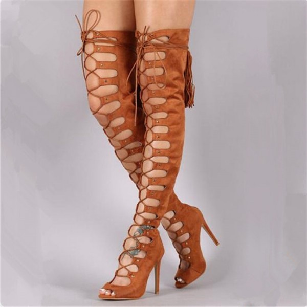 Tan Gladiator Boots Suede Peep Toe Wide Calf Thigh High Lace Up