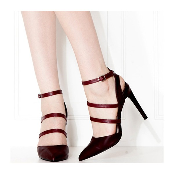 Burgundy Heels Ankle Strap Stiletto Heel Closed Toe Sandals image 1
