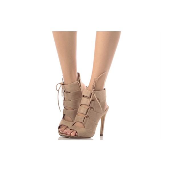 Khaki Lace up Sandals Suede Slingback Stiletto Heel Sandals image 1