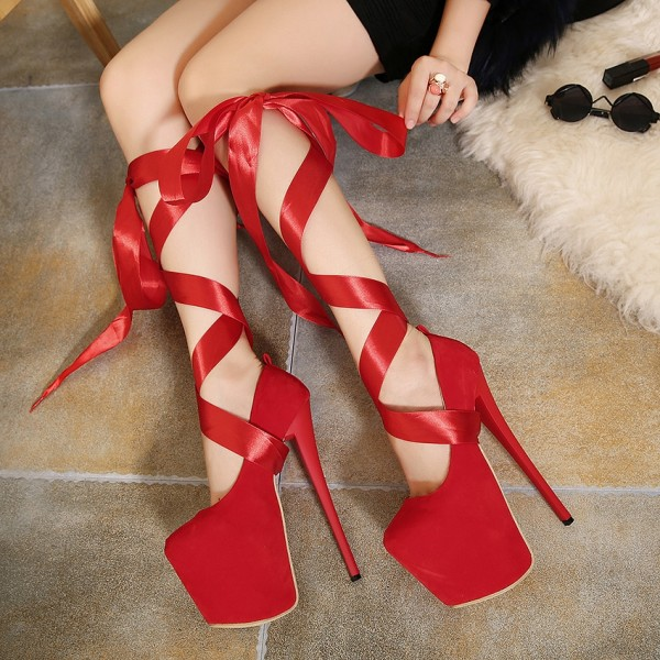 Red Stripper Heels Suede Lace up Platform Pumps High Heel Shoes image 1