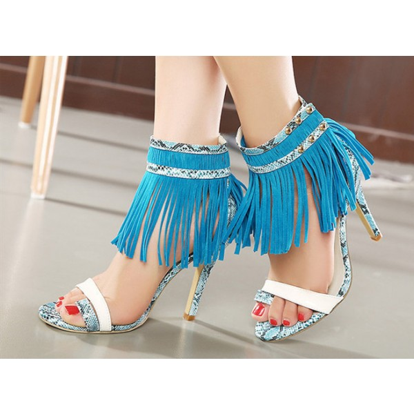 Women's Blue Python Fringe Sandals Stiletto Heels  image 1
