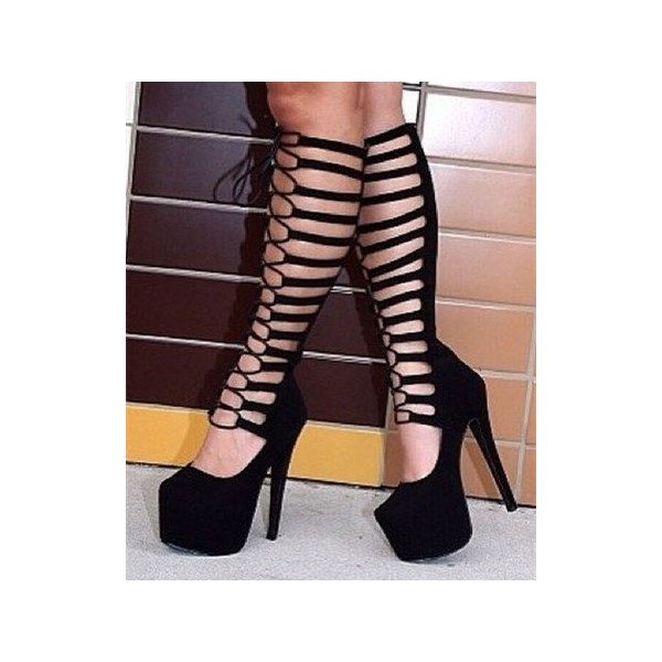 Black Gladiator Boots Lace up Suede Platform High Heel Shoes image 1