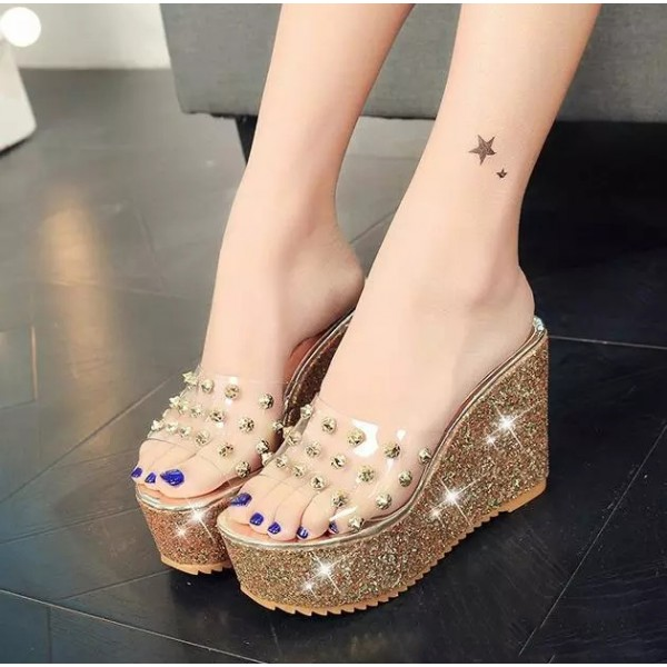 Gold and Clear Heels Glitter Open Toe Slides Rivets Platform Sandals image 1