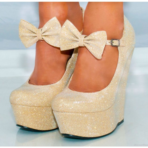 Champagne Closed Toe Wedges Sparkly Platform Pumps for Prom image 1