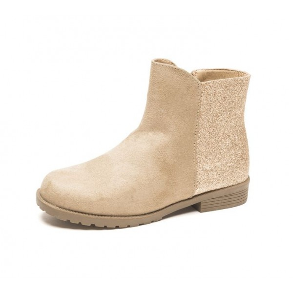 Khaki Casual Boots Round Toe Sparkly Short Boots image 1