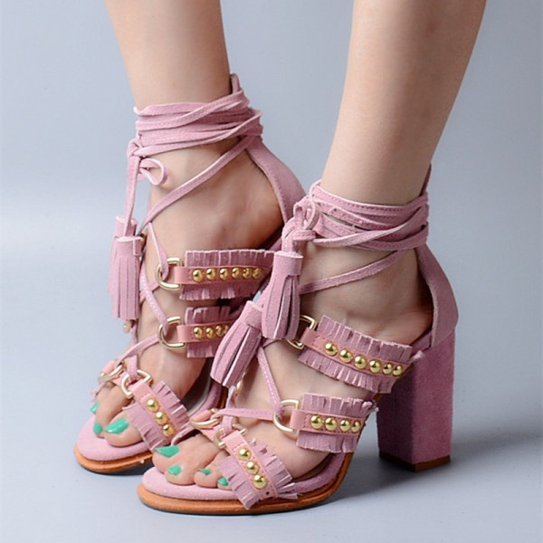 Pink Tassel Sandals Suede Fringe Strappy Block Heel Shoes with Studs image 1