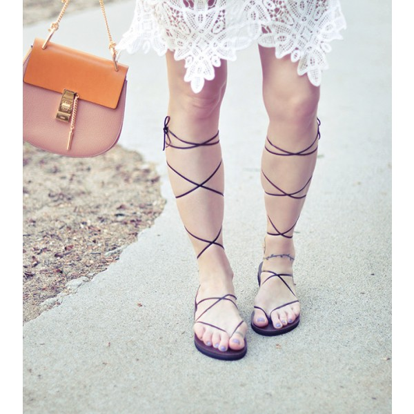Women's Black Gladiator Strappy Sandals Comfortable Shoes image 1