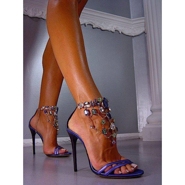 Purple Prom Shoes Stiletto Heel Jeweled Sandals Evening Shoes image 3