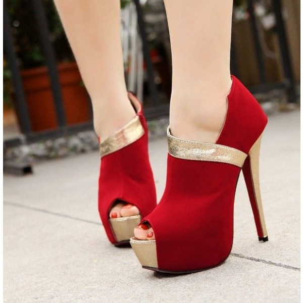 Women's Coral Red Suede Platform Heels Peep Toe Stiletto Pumps image 1