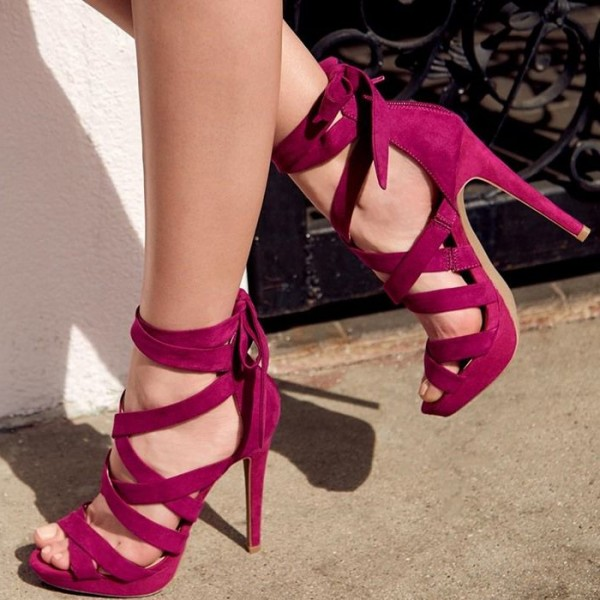 Burgundy Strappy Sandals Suede Lace up Platform Heels image 1